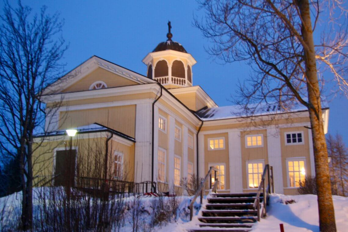 The Church of Liminka from the year 1826 is a beautiful building by the vast fields of Liminka.