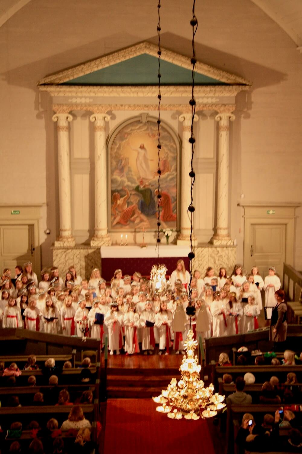 Lucia performance at the Church of Liminka. Lucia singing is a very traditional habit in the Nordic countries and in Finland especially on the coastal areas.