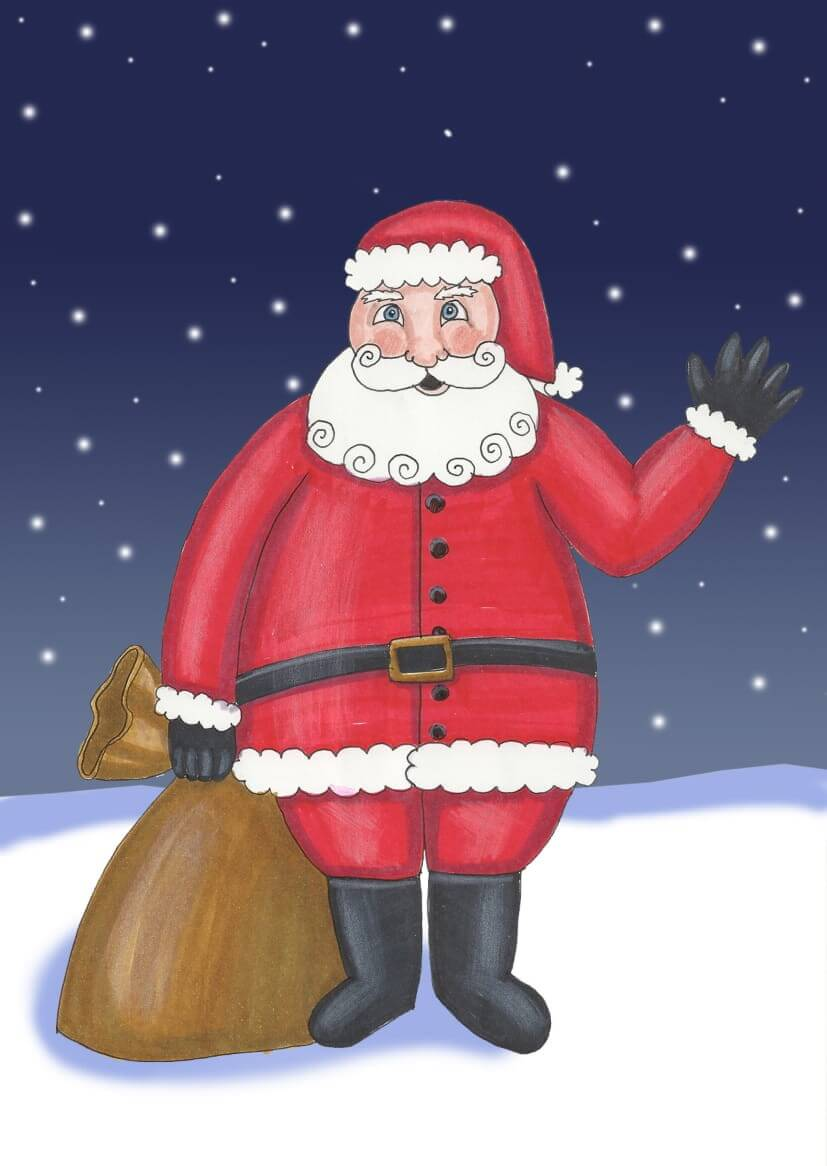 Santa Claus has a big bag of gifts, but he is not coming through the chimney, just trough the door. Wait for the bells ringing!